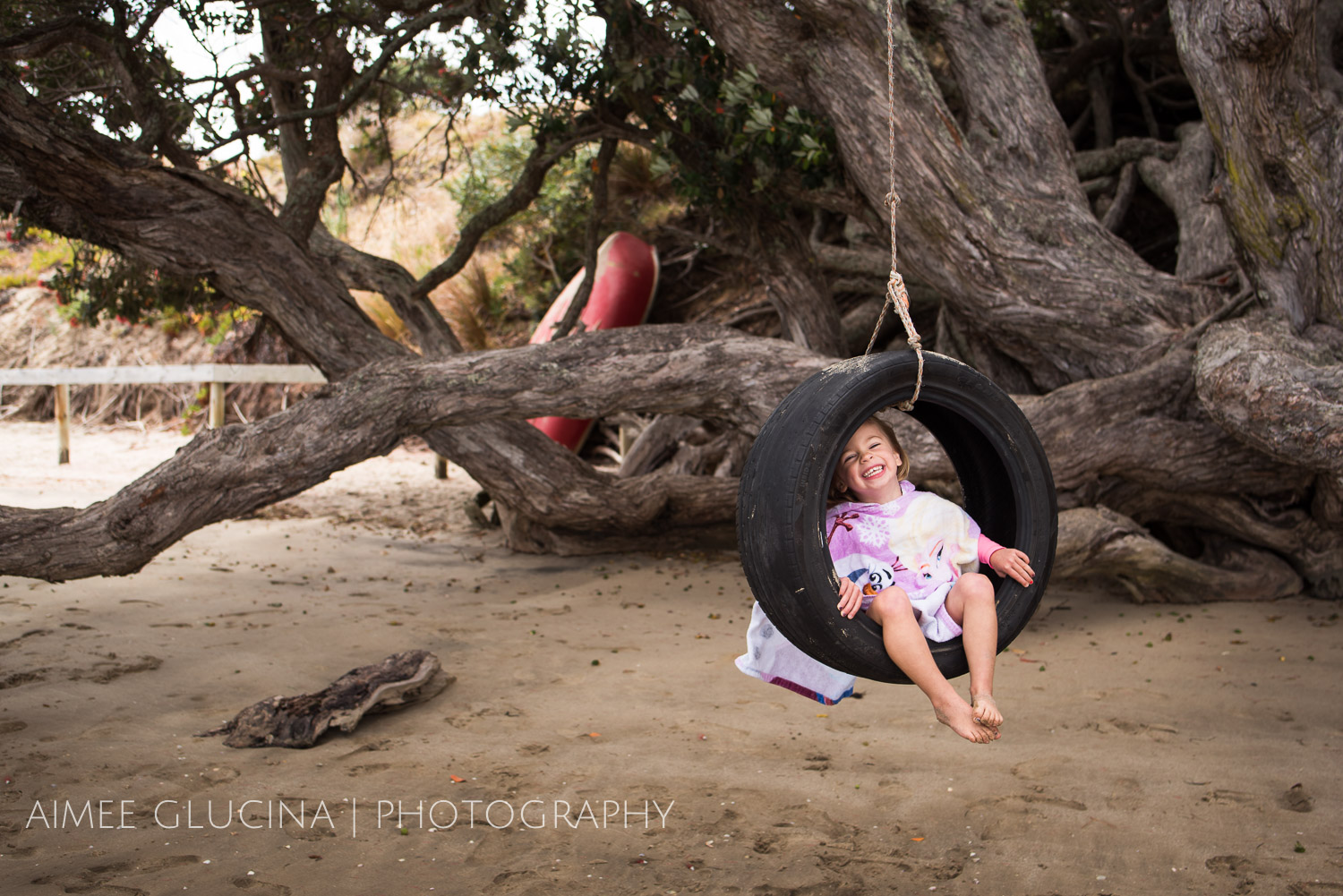 What says kiwi summer more than a tyre swing in a pohutukawa tree?  Here the shade of the tree cuts down the harsh mid day sun so we can get a nice evenly lit shot.