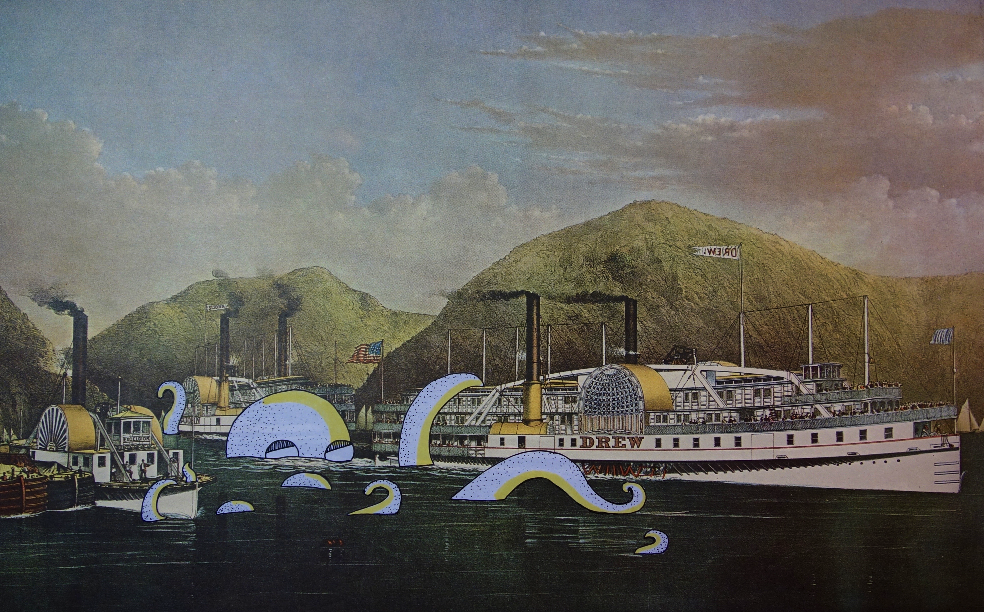 Steamship Drew on the Hudson