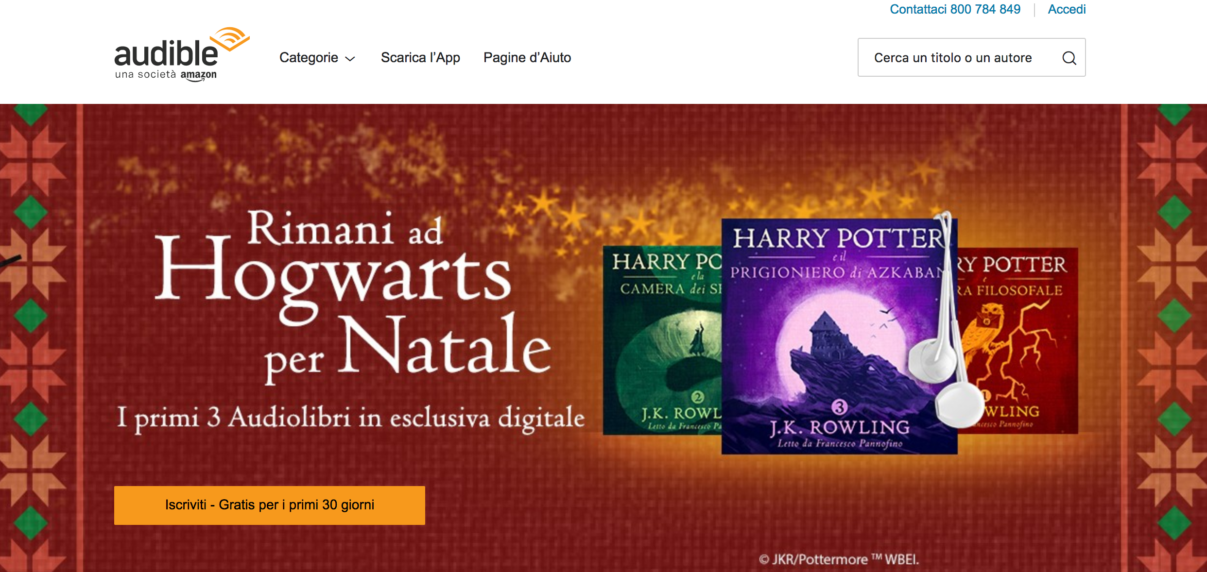 Home page Audible Italia.