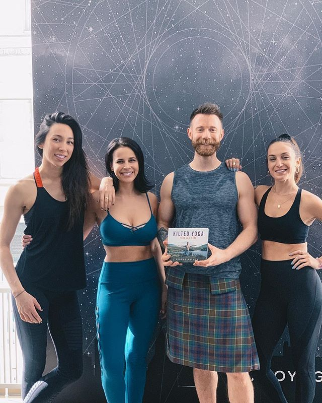 """Ever feel like yoga isn't your thing? Well no excuses because you can even do it (and feel good) in a kilt! … We learned so much from @finlay0901  @kiltedyogis at the @alonewyork Master Class series last week!! New big fan of #Forrestyoga and for allowing your yogic journey to come from within! 🤸🏻♂️🧘🏻♀️ … DM me or email justine@siren-yoga.com if you're interested in private yoga, which can be any of the following yoga sessions: • Individual • Mini Groups • Events • Kids • Corporations Also, check out my website www.justinebenanty.com for more information on personal yoga or www.siren-yoga.com [link in bio] for ongoing yoga classes. 🧜🏼♀️🧘🏻♀️ Namaste 🕉 ... Yoga Outfit 