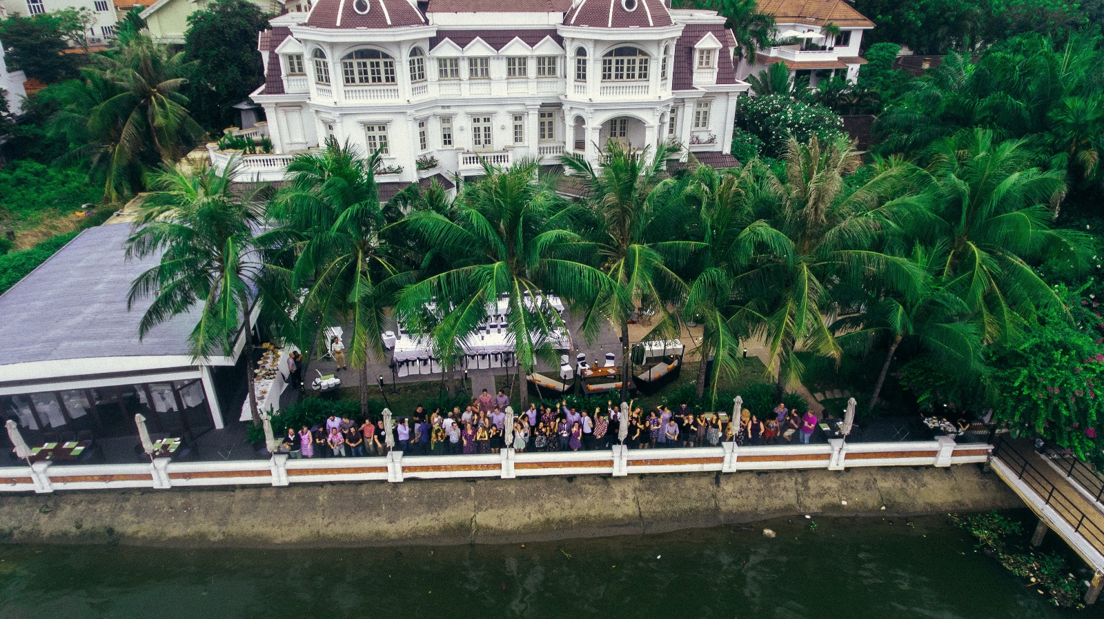 Drone shot of the group at our farewell party in HCMC.
