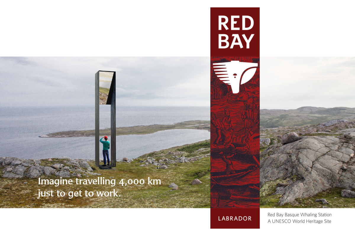 """In Red Bay, the brand and the built environment are inextricably linked. In this system, a single metaphor (the """"portal"""") and a unifying set of proportions guides the form of everything, including the Red Bay logo, the shape of the monument, and the form of all signs in the system."""