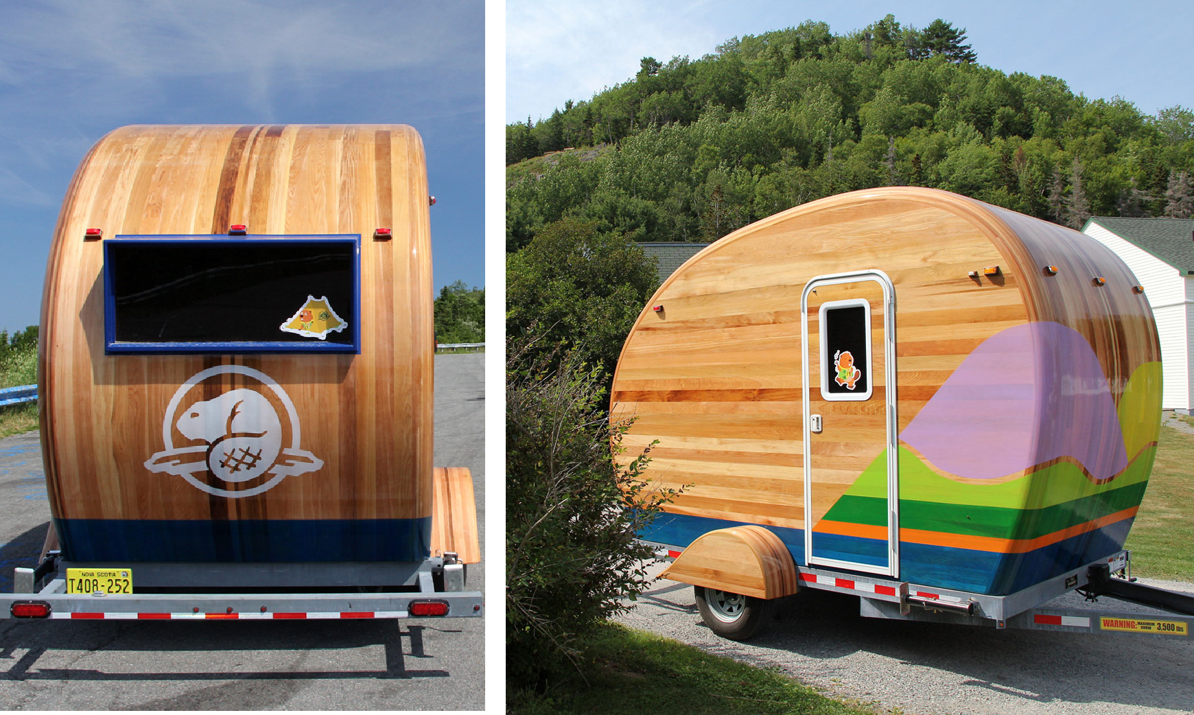The cedar strip built trailer was inspired by traditional canoes and campers, the graphics were inspired by canoe paddles.