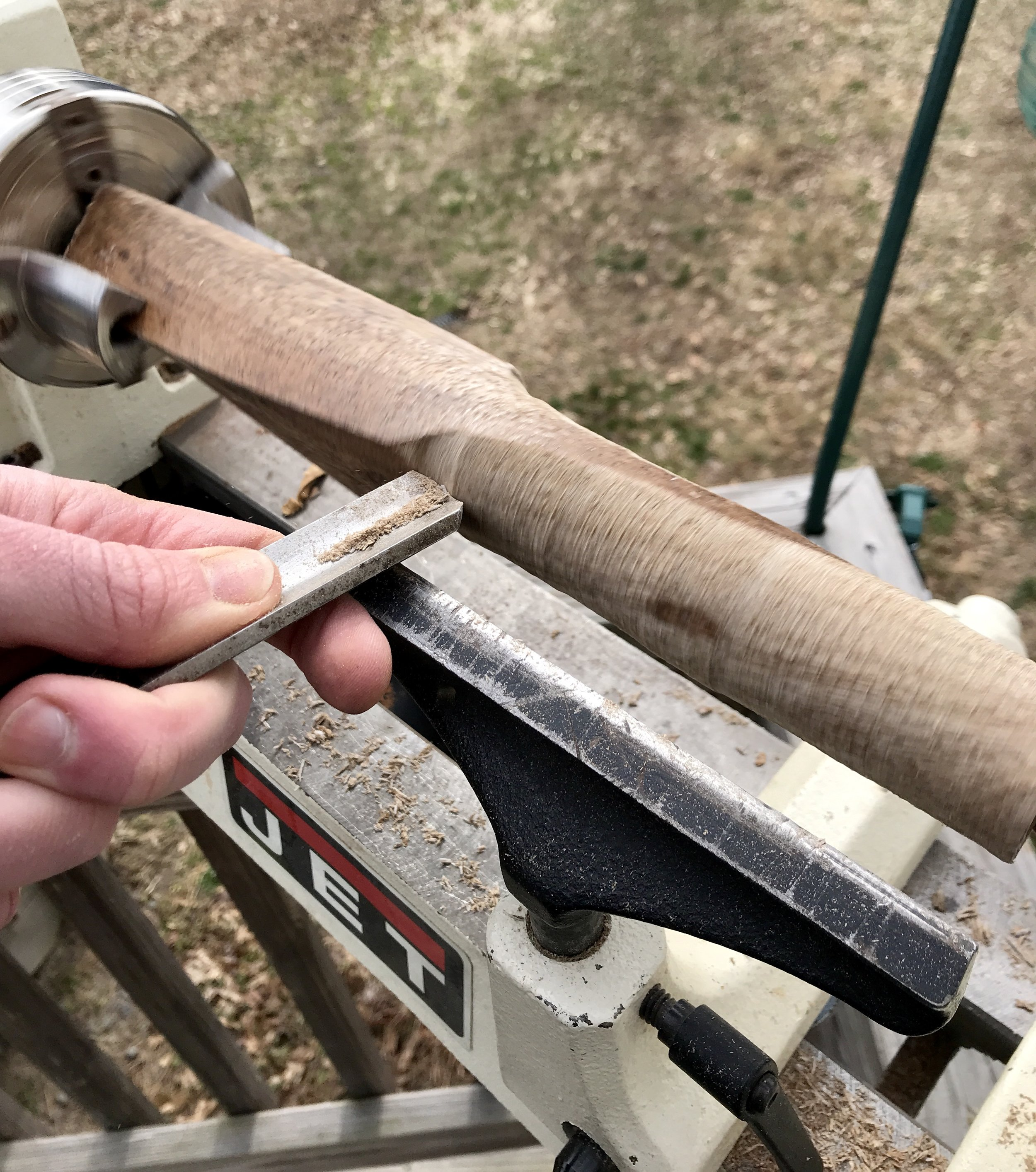 It was pointed out to me that my tool rest is much farther away from the work piece than it should be.  NOTED!  Won't happen again.  Thanks for mentioning it J!