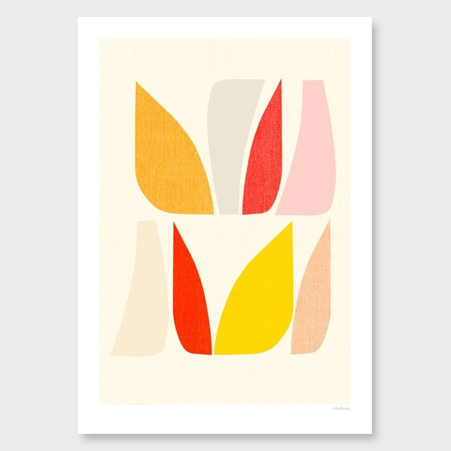 Endemicworld Inaluxe Morning Sun art print >>  Organic shapes in both soft and strong soft tones, this was the inspiration for our own DIY abstract artwork : )
