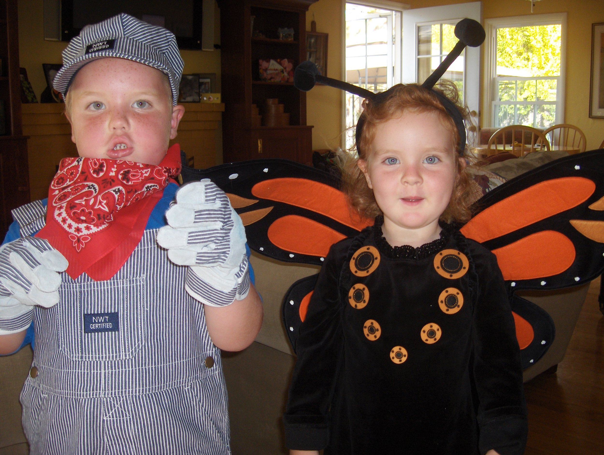 Engineer (possibly saying 'choo choo') and Monarch Butterfly