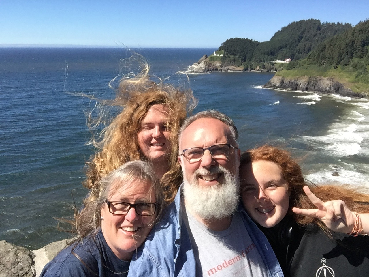 maybe a little windy? but a nice lighthouse behind us
