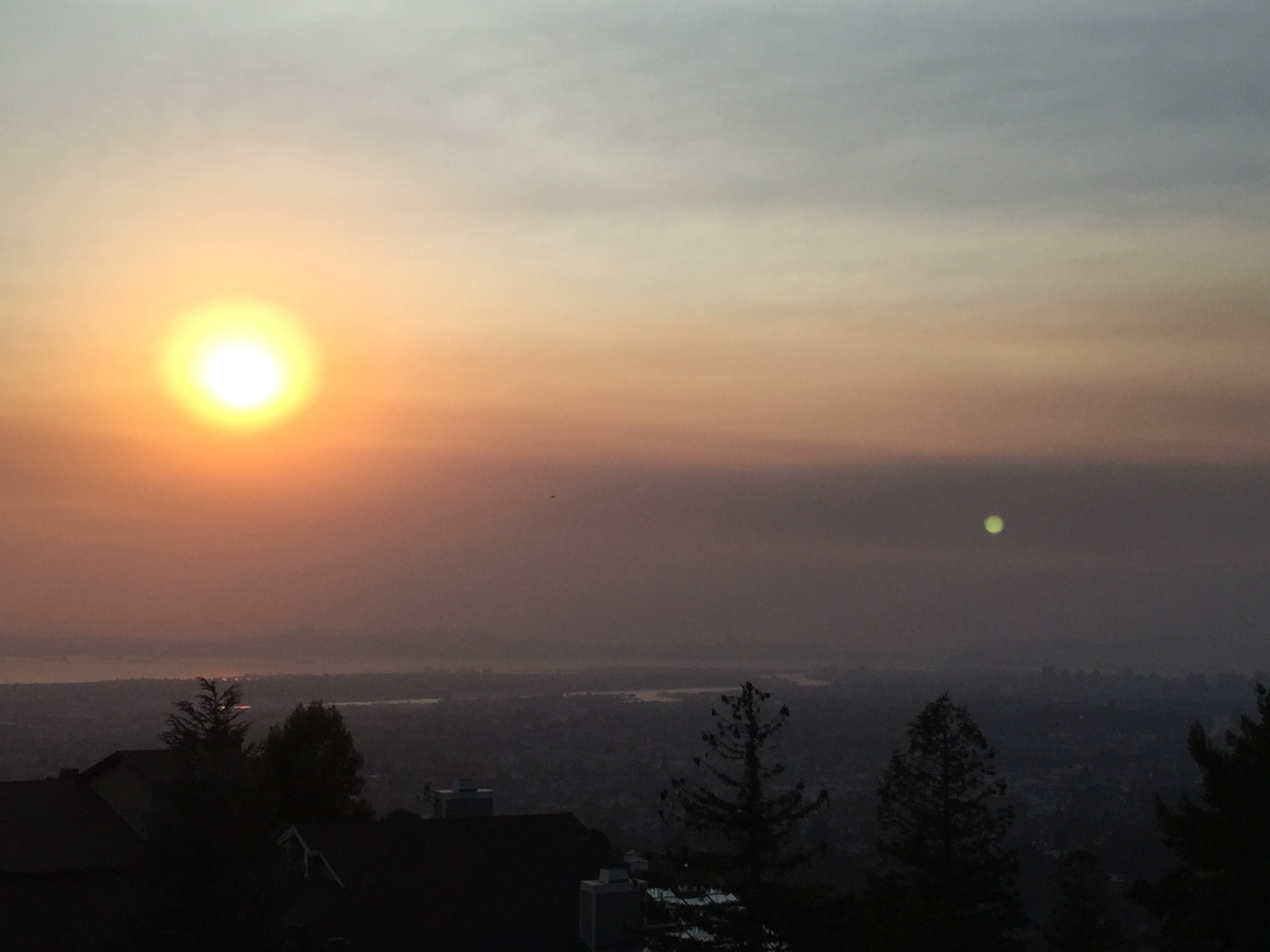 A smoky view of the bay from Merritt College, Monday 10/9, 6 pm