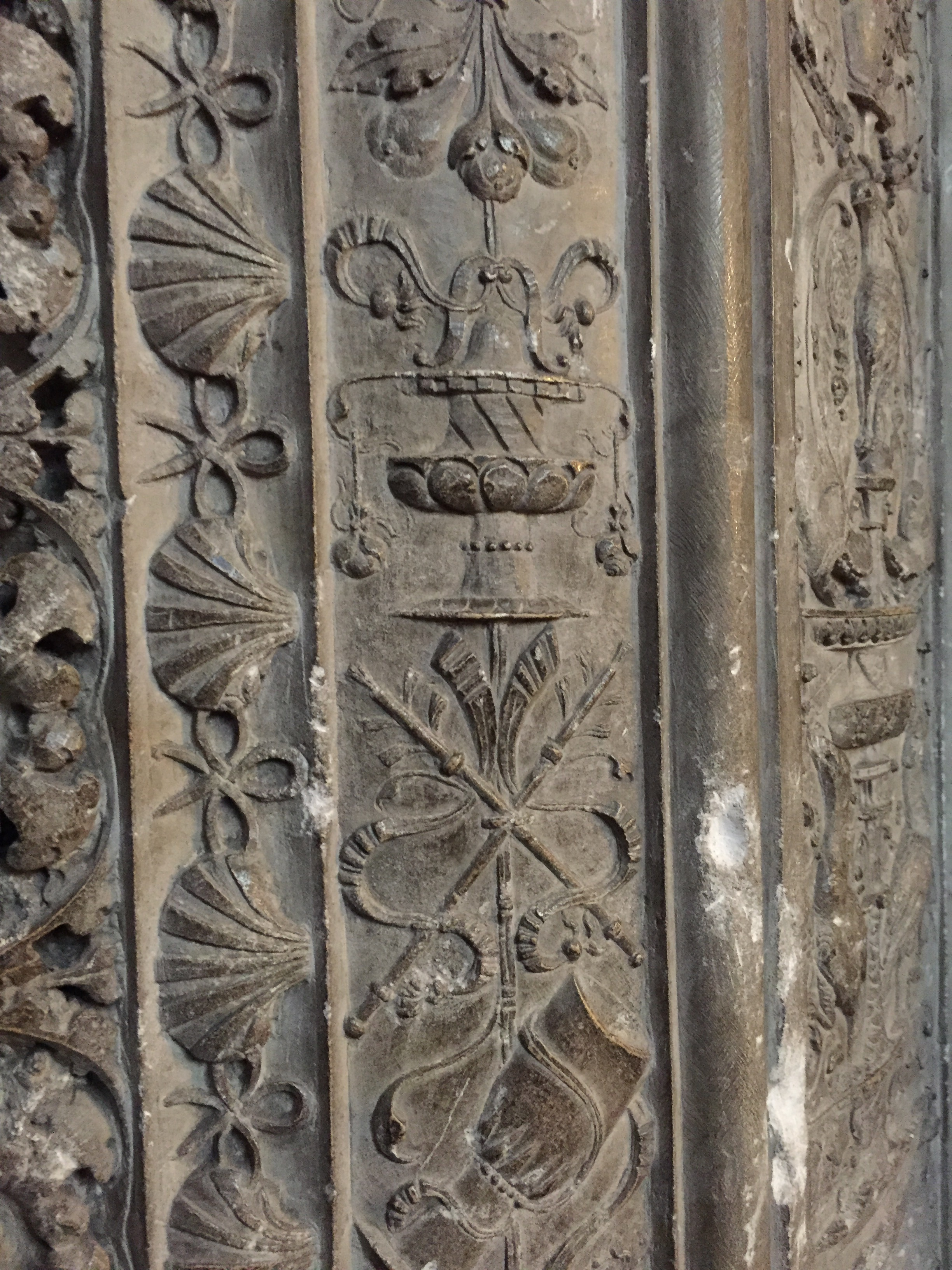 stone carving on the columns inside the church