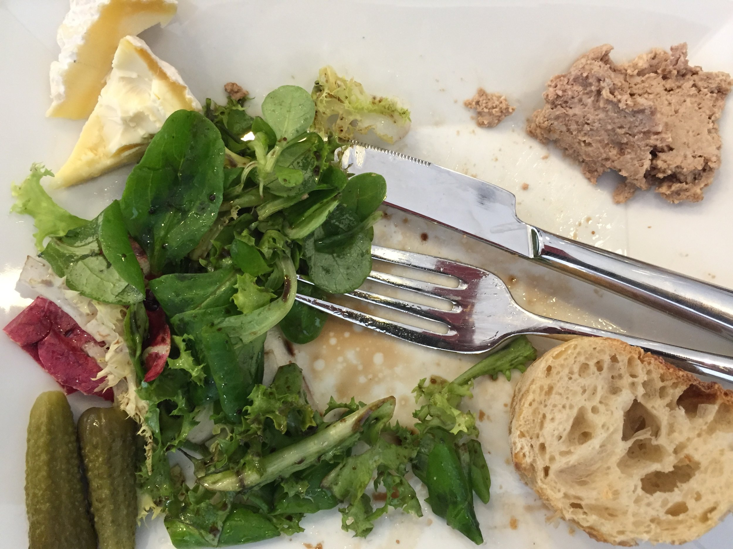 our 'picnic' lunch at the winery - a delicious salad of mache and frisee, cornichon, fresh bread, local chevre, and several kinds of pork and duck rillette. Plus lots and lots of wine.