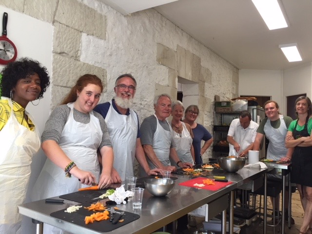 cooking our lunch with Frederique. Recipes below.