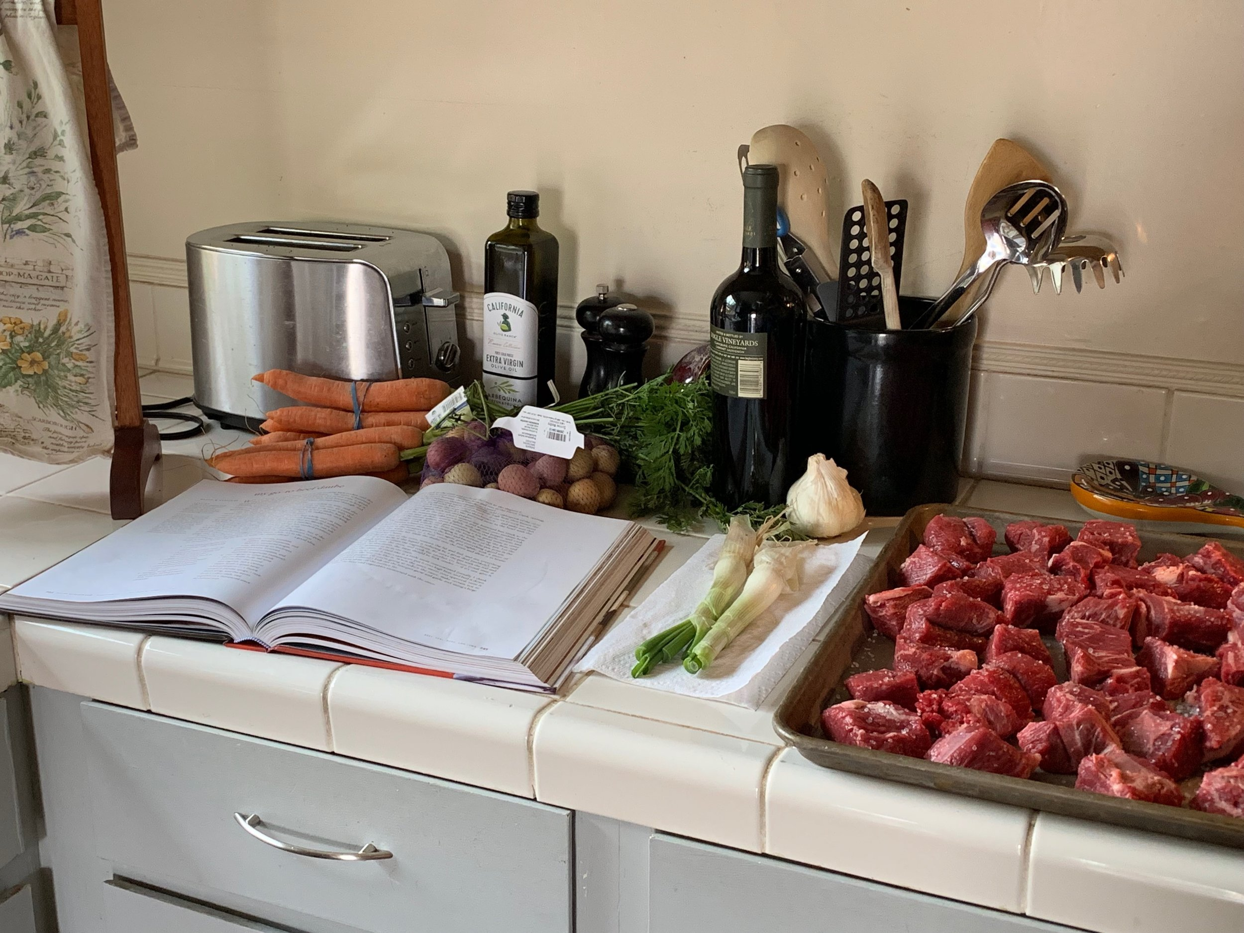 Ingredients for a Boeuf Daube (a la Dorie Greenspan). I had to buy carrots and potatoes, darn it. :)