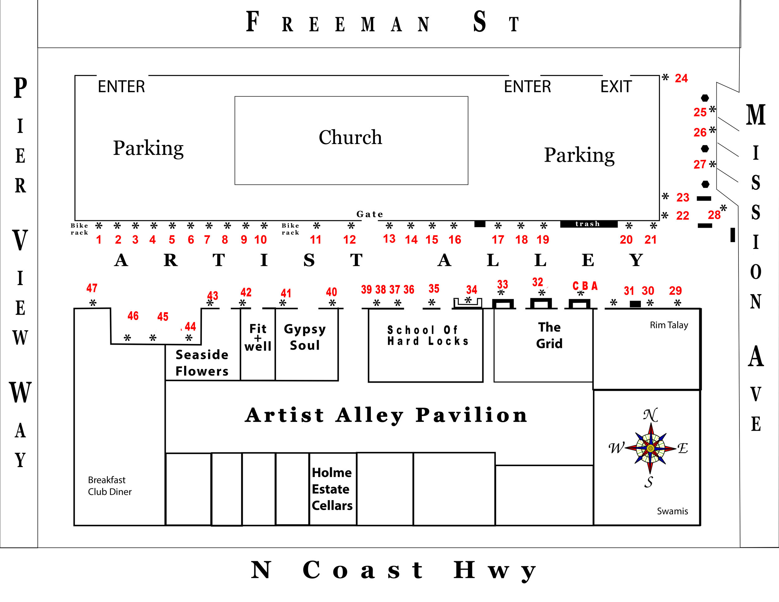 Artist Alley Map with space numbers.
