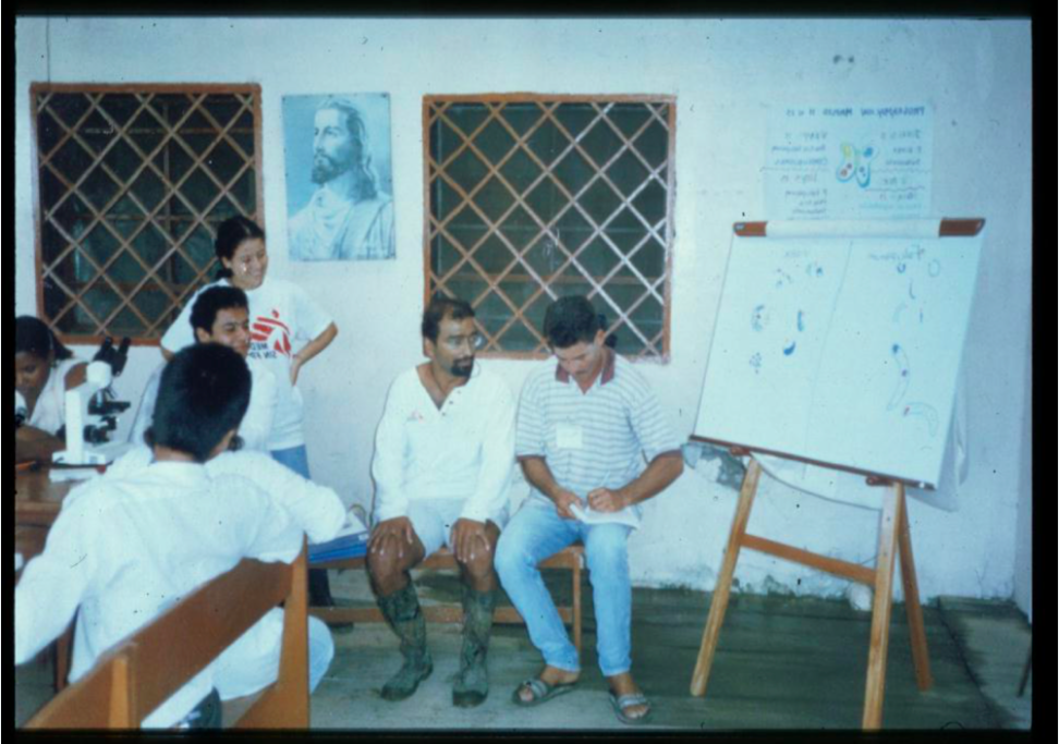 In, boots 'n all- teaching health workers malaria parasitology in Colombia. On that MSF mission swamped in a system of uncontrollable elements we had to find coherent plans.