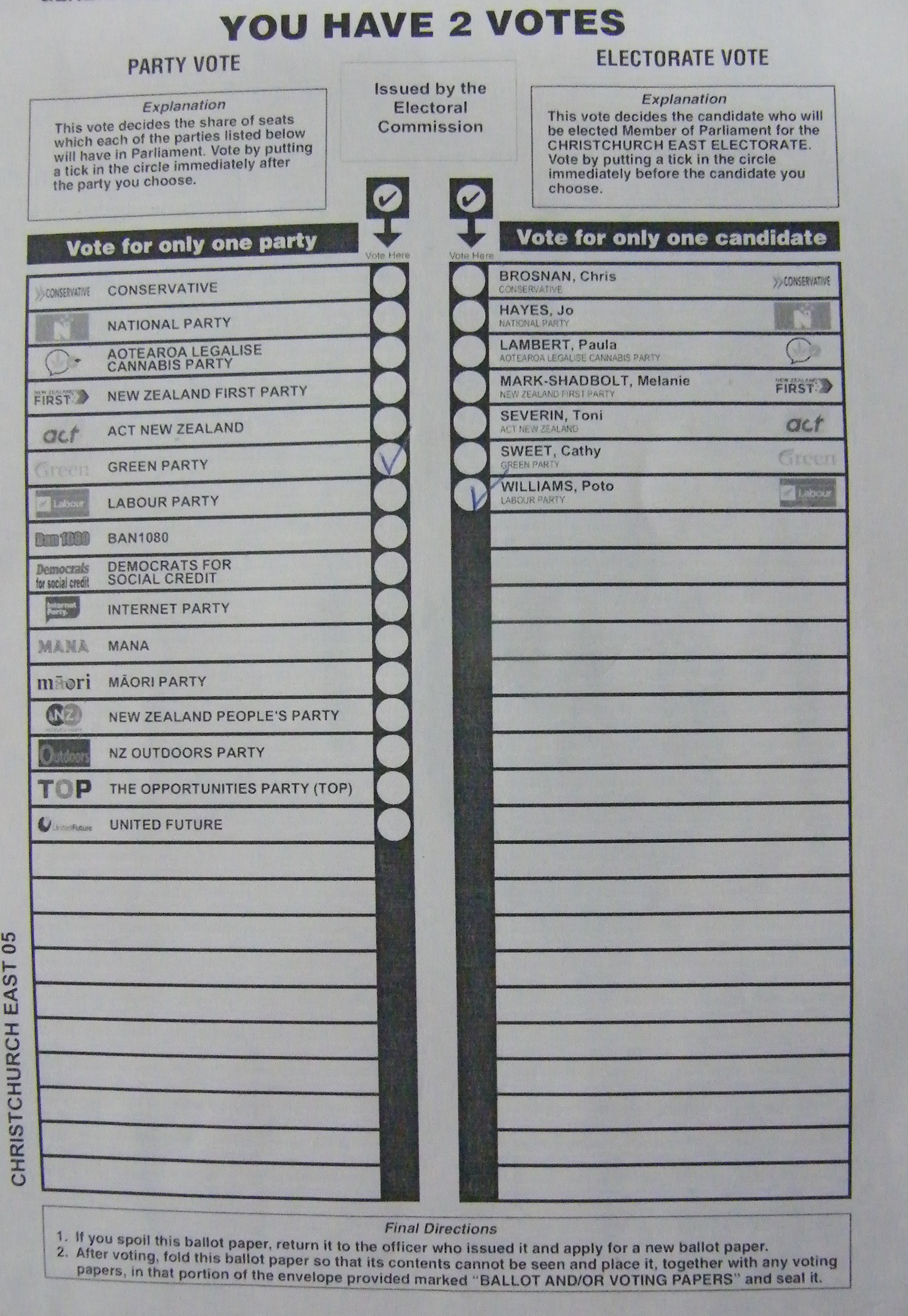 "A NZ ballot paper: ""Tell me what you want, what you really really want"