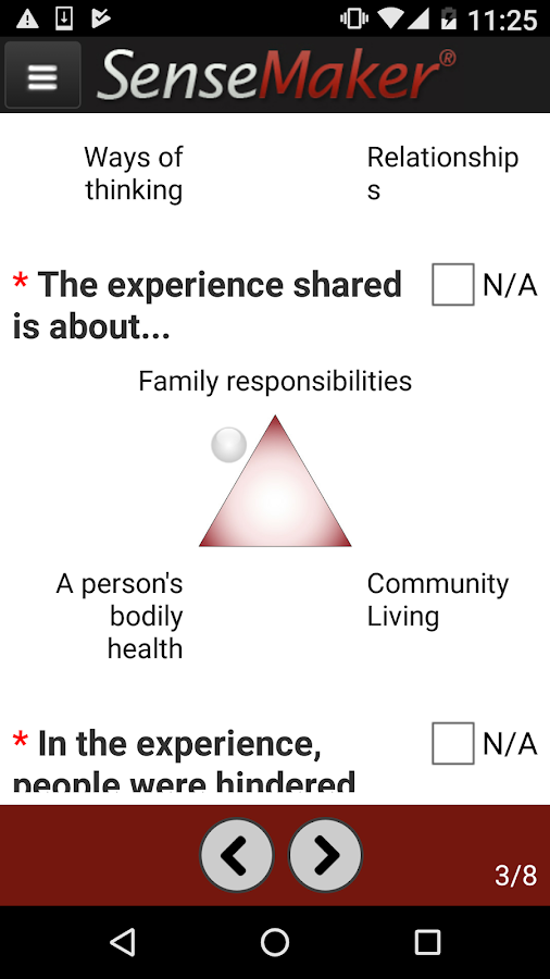 The participant chooses where their experience lies in a two-dimensional triangular space.