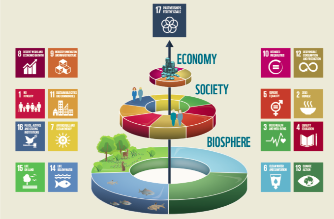 How we should approach development work. We currently work with an upside down version. Graphic from The Living Planet Report, 2018