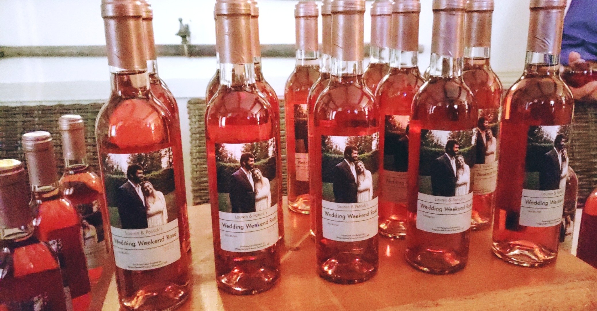 Custom Rose' bottles from Whippletree Winery welcomed guests as they arrived for the weekend.