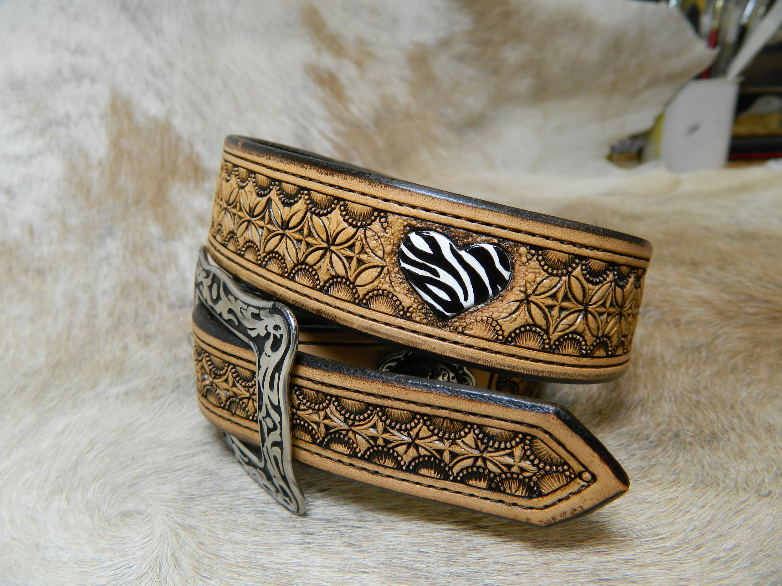 Custom Tooled Leather Belt