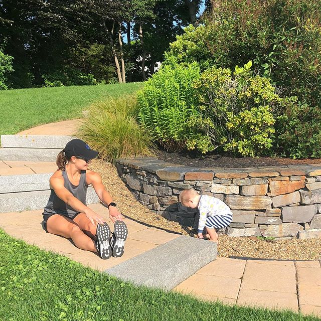 Post-run stretching 🙆‍♂️🙆🏻‍♀️ Love how this kiddo mimicks my every move... maybe I'll regret that statement someday soon! 🤷🏻‍♀️😆 #mainerunning #myminime #stretching #postrun #runlove #milesforbreakfast #maine #marathoner #miles #running #motherrunner #strongasamother