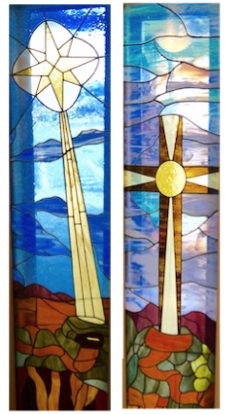 Original Stained Glass Windows that embellish the church entrance
