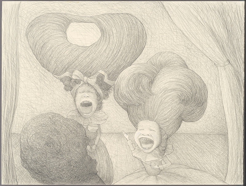 The sleep of reason 1: ego, id, superego, 2008: paper, graphite, chalk, 18 x 26 inches