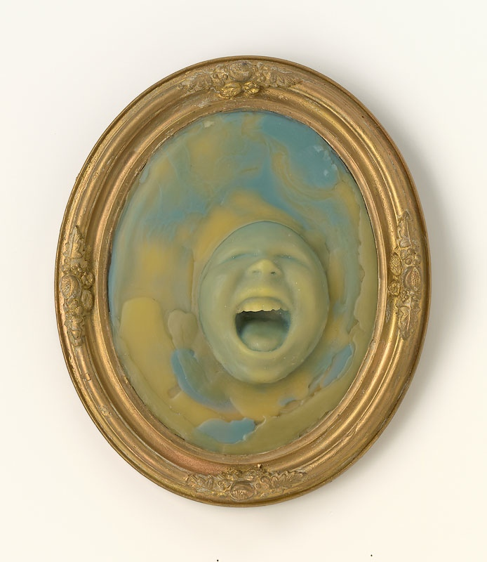 Green screamer,  2008,beeswax, pigment, plaster, wood, 14 x 8 x 2 ½ inches