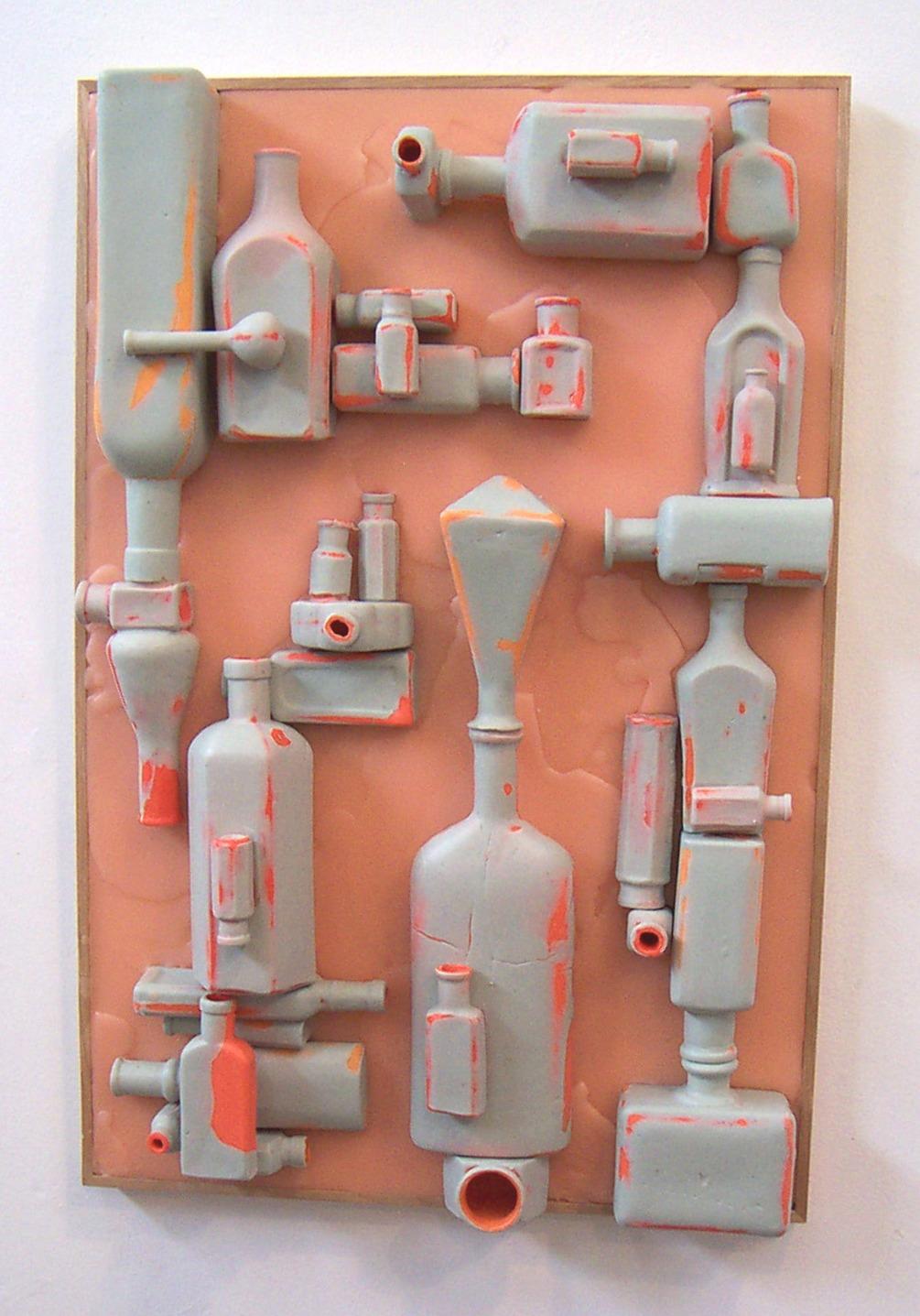Balancing Act 2:     Skin Deep  ,  2005, wax, wood, pigment, 24 x 16 x 5 inches