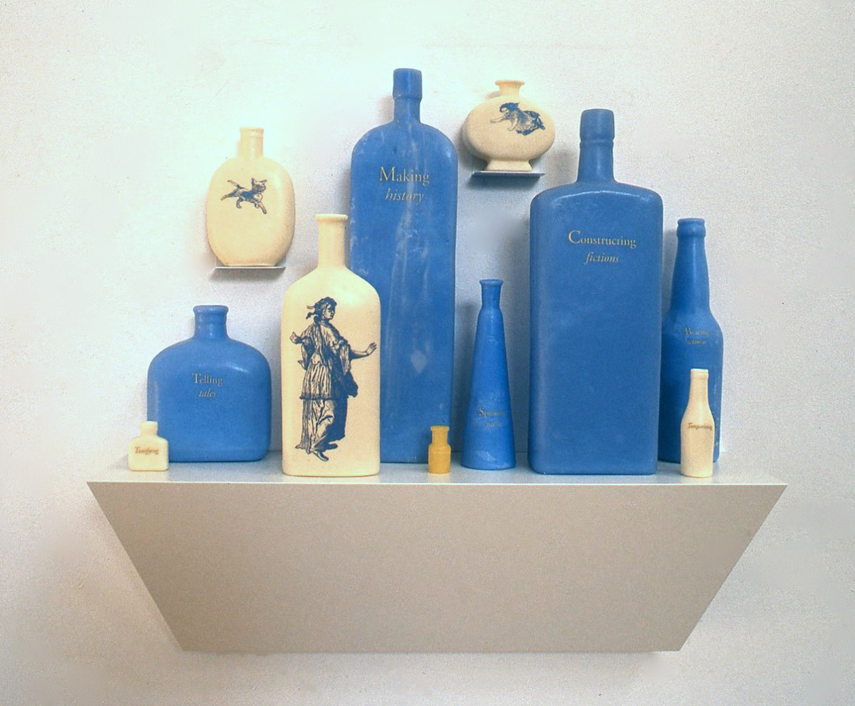 Arcadia,  2000: wax, applied text and image, wood, 26 x 24 x 4 inches