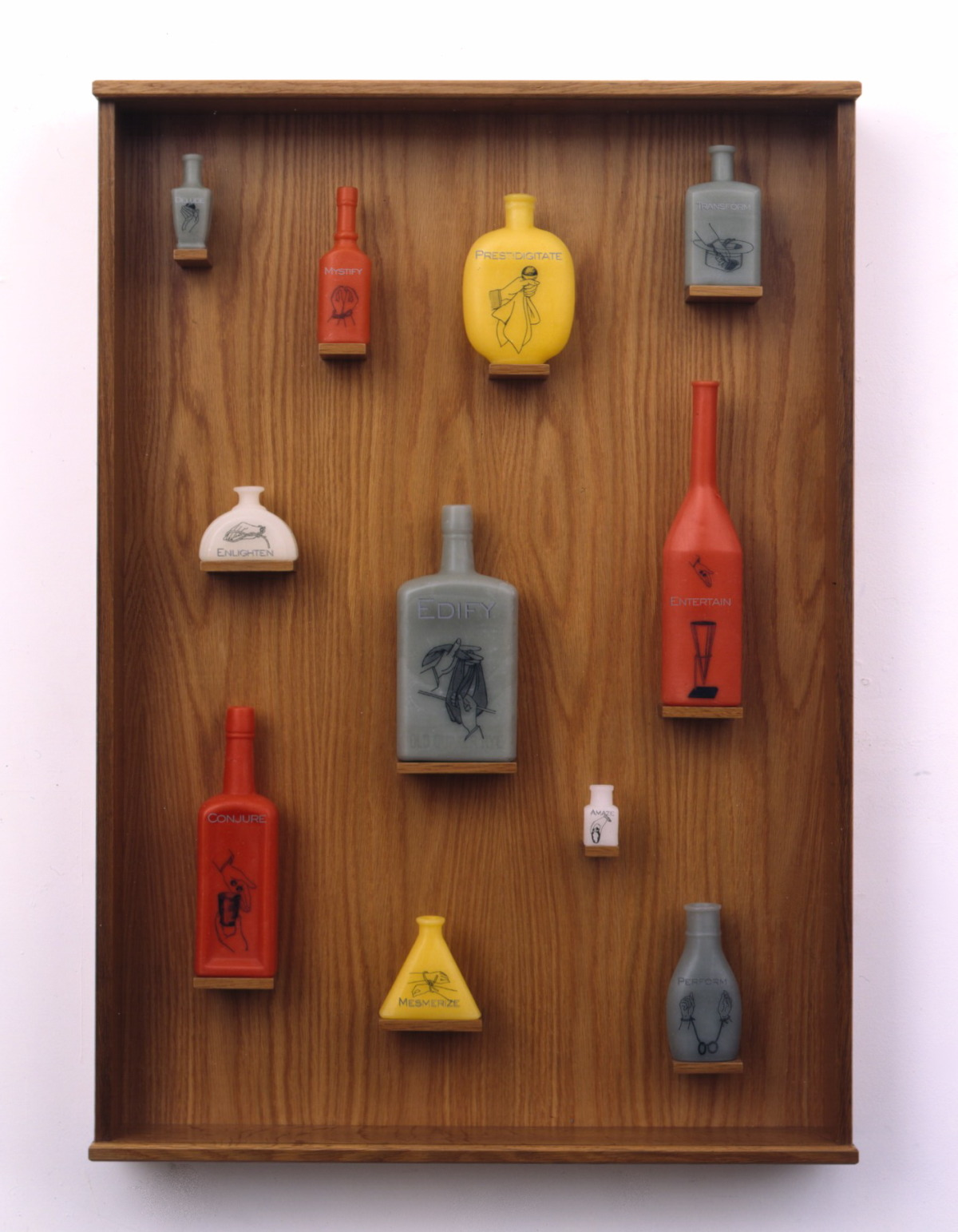 Hand Signals 3, 1999: wax, wood, metal leaf, Plexiglas, 20 x 16 x 3 inches