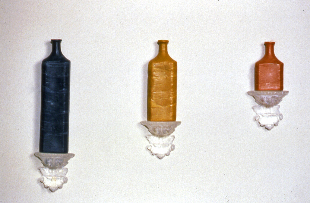 How much is enough?,  1995, wax, cast glass, 26 x 35 x 3 inches