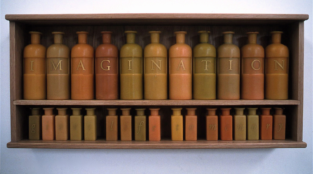 After school: Rudolph Steiner , 1999, wax, wood, applied text . 'Imagination gives life to memory.'