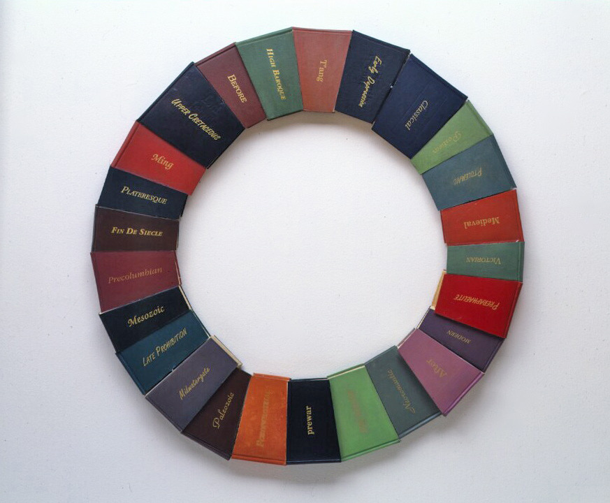Circular Time,  1990:  books, oil paint, wood, applied metal leaf, 30 inches in diameter. Different kinds of time are represented: these 'texts' include  Midwatergate, Early Cretaceous, T'ang, Late Prohibition, Before,  and many others.