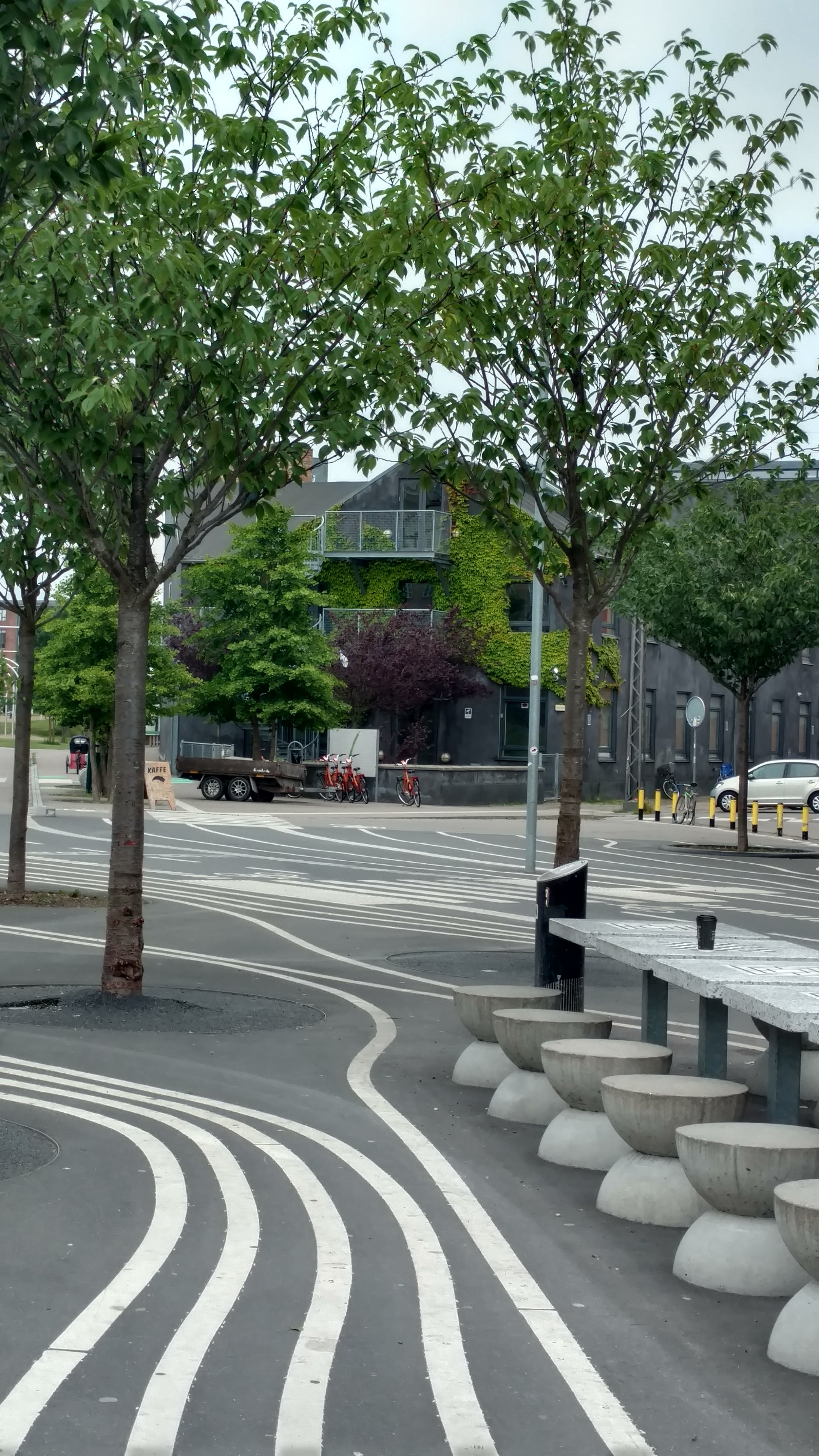 Street furniture and bike lanes in a park.