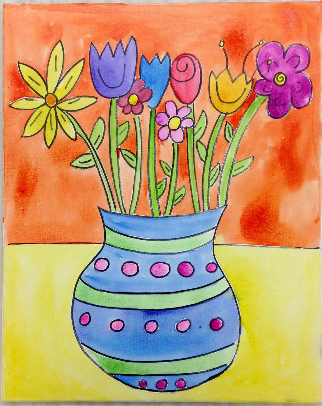 Flower Vase (Watercolor)