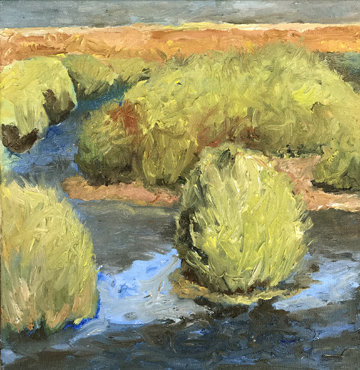 """Pond Mound""  12"" x 12""  Oil on Linen"