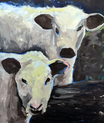 """""""Cows, Watching""""  30"""" x 36""""  Oil on Linen"""