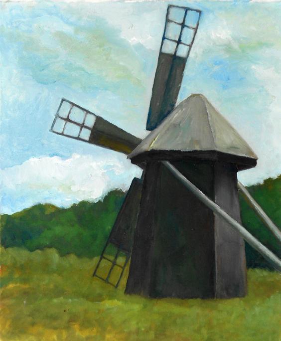 """Resting Windmill""  19"" x 23""  Oil on Canvas"
