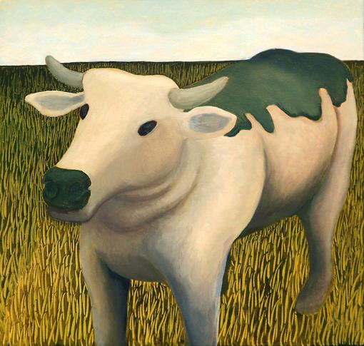 """""""Tar Cow""""  20"""" x 20""""  Oil on Canvas"""