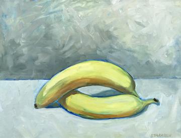 """""""Banana Pair""""  26"""" x 20""""  Oil on Linen"""
