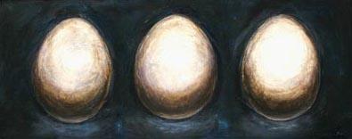 """Triple Eggs""  32"" x 12""  Oil on Canvas"
