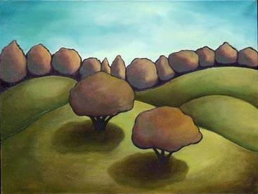 """Tree Pair""  32"" x 24""  Oil on Canvas"