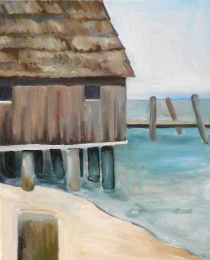 """China Camp Stilts""  16"" x 20""  Oil on Canvas"