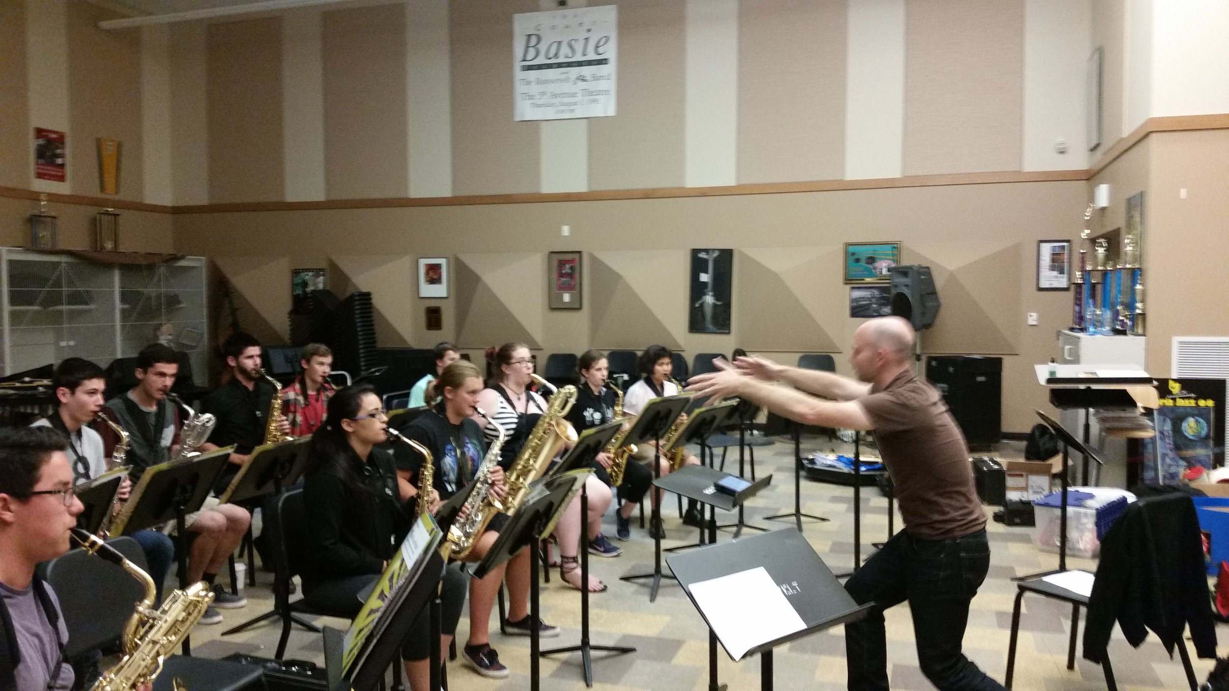"Guest artist Christian Pincock leads students in the unique, instantaneous form of composition known as ""Conduction."""