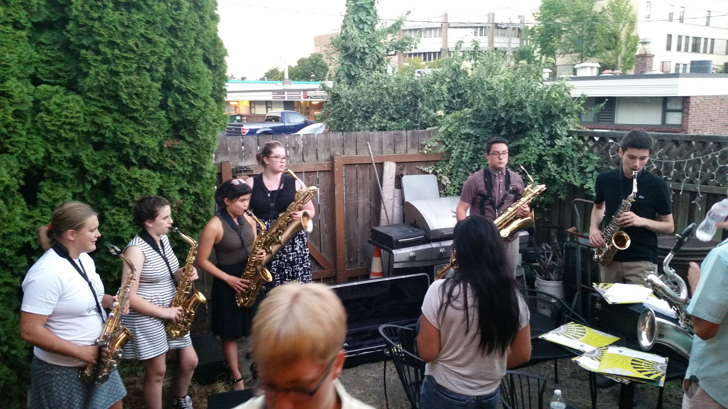 Students hang outside Egan's Ballard Jam House just before their culminating performance that evening.