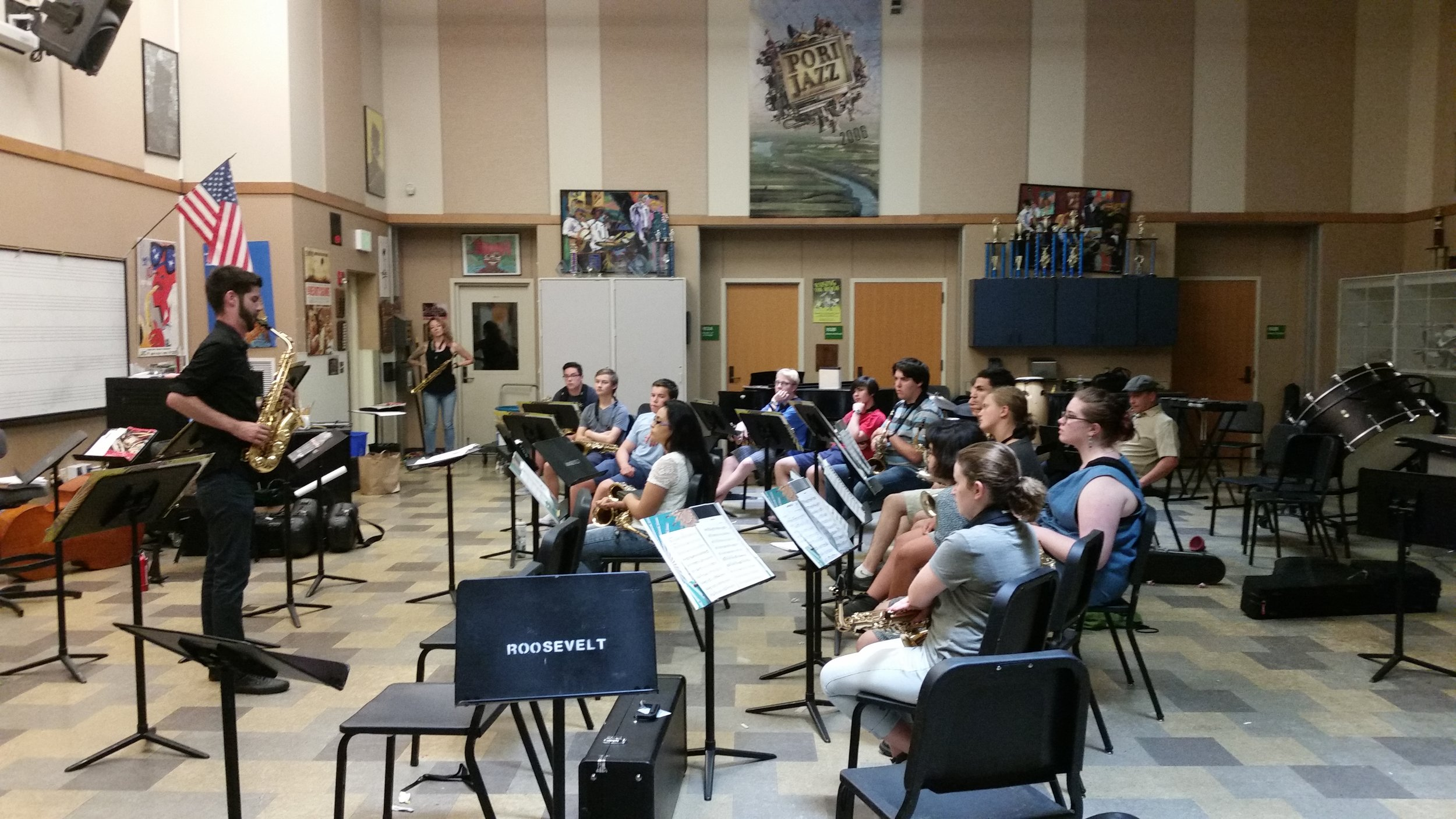 Seattle Saxophone Institute co-founder Evan Smith leads students in morning warm-ups.
