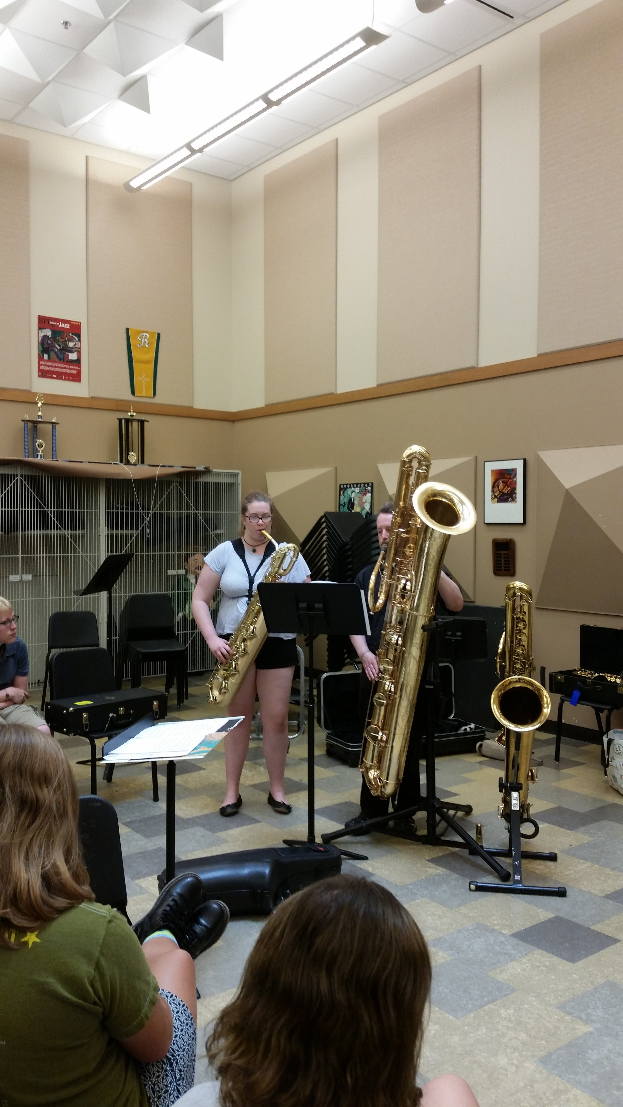 Annie Saltee, a bari saxophonist camp attendee, plays a duet with guest artist Dr. Jay Easton on the contra-bass saxophone.
