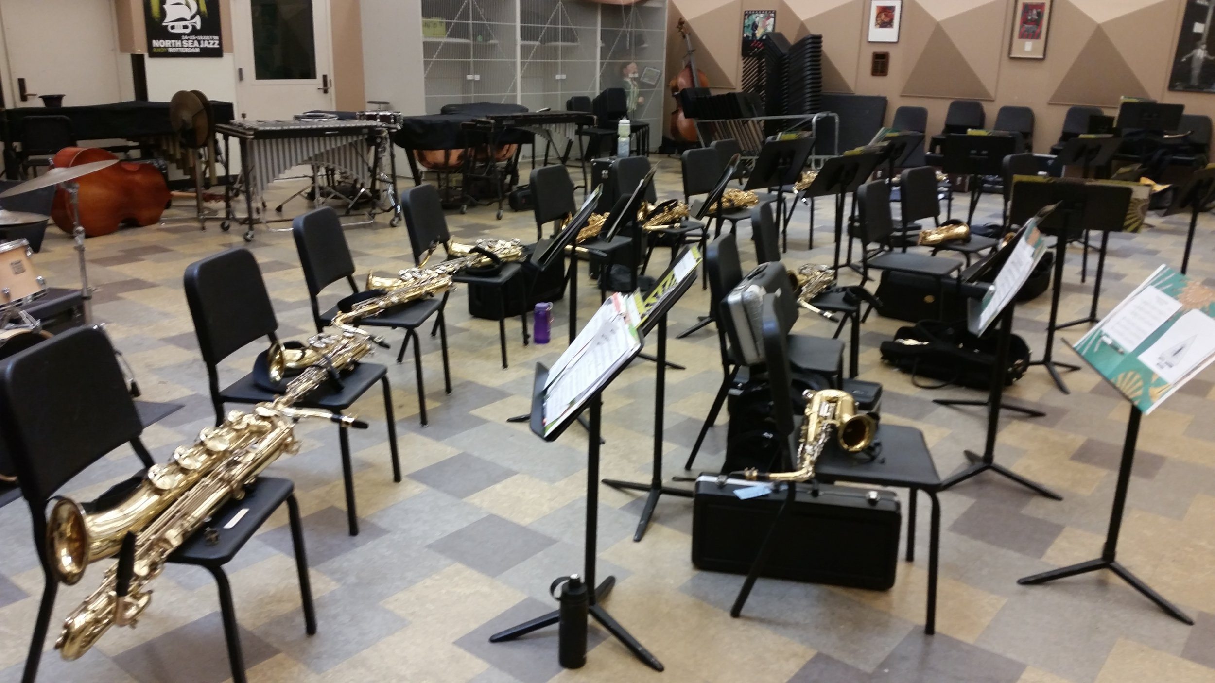 Students take a break for lunch, leaving behind an army of horns!