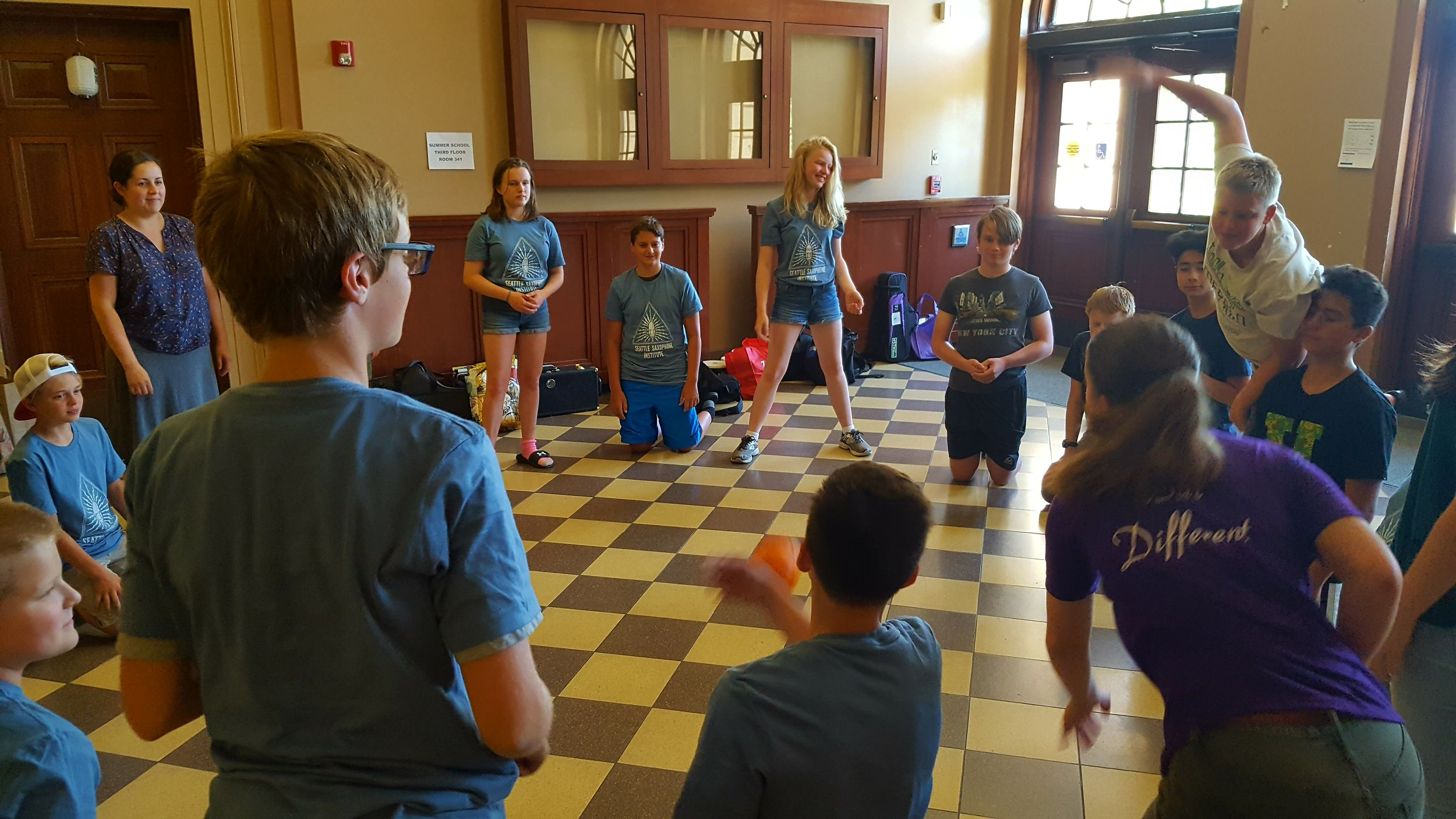 Our 2018 middle school students participating in a team building game at the Sax Institute