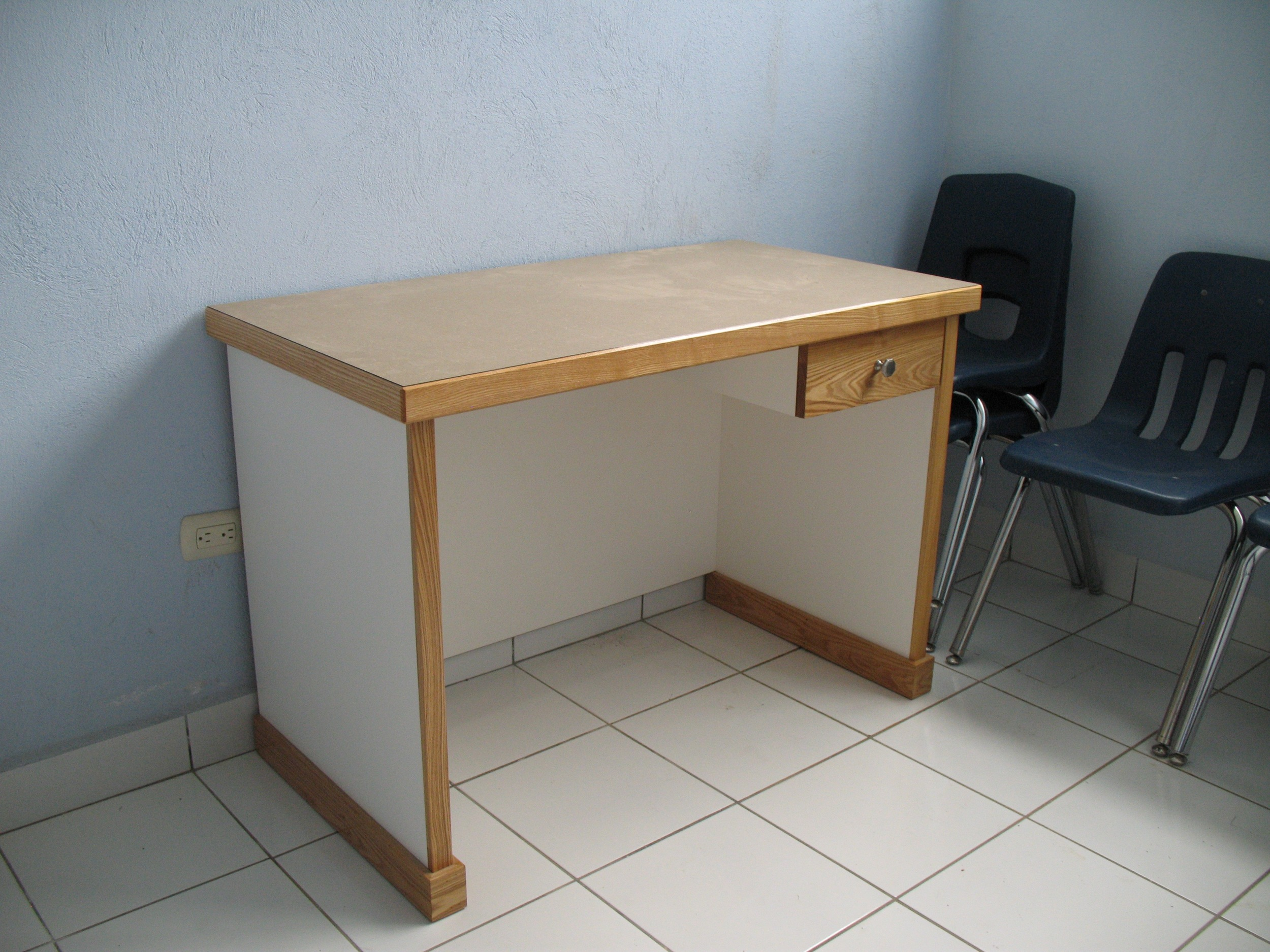 Desks in the examination rooms